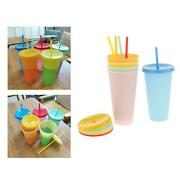 5 Pieces Portable Thermochromic Color Changing Cup With Lid Water Tumblers