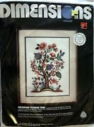 Dimensions Jacobean Flower Tree Crewel Embroidery Kit Oyster Linen Wool New