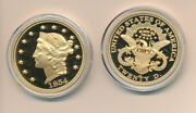 1854 Gold Double Eagle Reproduction 24k Layered Gold Proof In Capsule