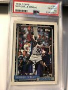 1992 Topps Shaquille Oandrsquoneal 362 Rookie Rc Basketball Magic Psa 10 Gem Mint