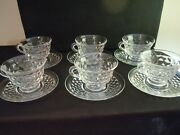 American, Fostoria Glass Co, Coffee Cup And Saucer,set = 1 Saucer And 1 Footed Cup