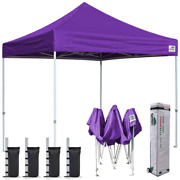 Eurmax 8'x8' Ez Pop Up Canopy Tent Commercial Instant Canopies With Heavy Duty R