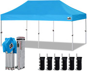 Eurmax 10'x20' Ez Pop Up Canopy Tent Commercial Instant Canopies With Heavy Duty