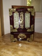 Vintage 10 Chinese Rosewood Jade And Brass Jewelry Box And Silk Lined Drawers