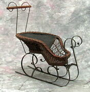 Antique Victorian Doll Wicker And Wrought Iron Horse Drawn Sled Sleigh Carriage