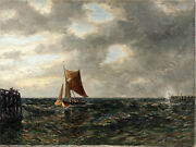 8360053-d Oil Painting Fishing Boat Before Port For E.morgenstern