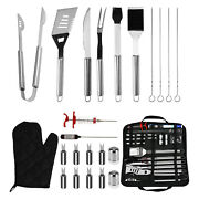 Bbq Set Stainless Steel Barbecue Utensils Kit Outdoor Grill Tools Case 25 Piece