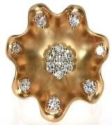 Large .63ct White And Pink Diamond 18kt White And Rose Gold Flower Starfish Fun Ring