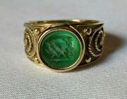 Vintage 14k Gold And Green Glass Ring