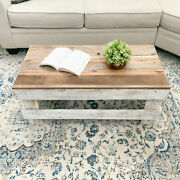 Rustic Coffee Table Reclaimed Wood Farmhouse Furniture Distressed White/brown