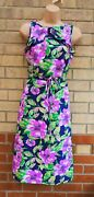 Real Form London Blue Lilac Floral Frill 70s Belted A Line Vintage Dress 8 S