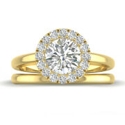1.25ct H-vs1 Diamond Halo Engagement Ring 18k Yellow Gold Any Size