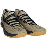 Aaron Judge Yankees Signed Player-issued Beige And Navy Shoes - 2018 Season And Insc