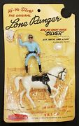 Vintage 1950s 1960 Hartland Plastics Lone Ranger And Silver On Card Toy Figure