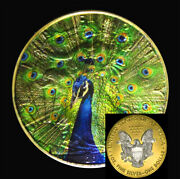 Majestic Peacock American Silver Eagle With 24k Gold And Capsule Ounce Oz