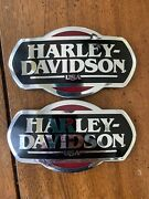 Oem Harley Touring Gas Fuel Tank Badges Emblems Chrome Black And Red