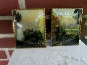 Vintage Lot Of 2 Pictures Silhouette Reverse Convex Glass Horse Wagon