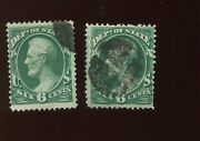 O60 State Dept Official Used Stamps W/ Plate Scratch @ Left And Right Vars Bx573