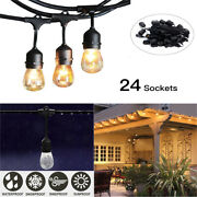 1/2/5/10pcs 48ft Outdoor Commercial Patio Globe String Lights 24 Bulbs