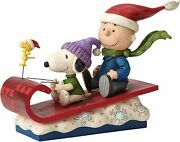 Peanuts Jim Shore Charlie Brown Snoopy On Sleigh Snow Day Statue 4052726 New