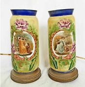 Victorian Antique Pair Glass Lamps Table Lanterns French Painted Classical Scene