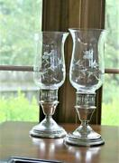 International Sterling Hurrican Style Candle Holders W/etched Glass / Berkley