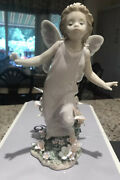 Lladro Butterfly Wings Angel With Flowers And Buttetflies W Box 780