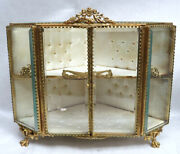 Vintage French Gold Large Dori Bronze And Crystal 10 1/2 Shadow Box Display