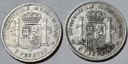 1871 Msd And Mde Spain 5 Pesetas .900 Silver Coins Amadeo I Antique Collectible Rr