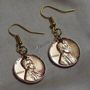 Choose Any Year Lucky Penny Earrings Gold Plated Wires Birthday Anniversary Gift