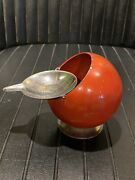 Scarce Vintage 1970and039s Red Smokny Round Ball Ashtray By F.w.quist Germany Wow