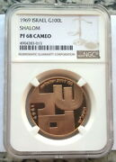Israel 1969 Shalom Peace 100 Lirot Ngc Pf 68 Gold Coin,proof