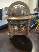 Vintage Wood Old World Globe Desktop Zodiac Astrology Zona Signs / Made In Italy