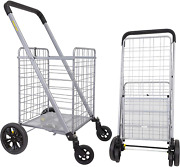 Dbest Products Cruiser Cart Deluxe Shopping Grocery Rolling Folding Laundry Bask