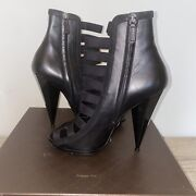 Olympia Elastic Ladder Strap Bootie/boot Black Women Size 10 Pre-owned
