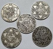 Alaouite Collection Lot Of 5 Silver Coins 1/4 Rial 2.5 Dirhams Uncleaned Rare Rr