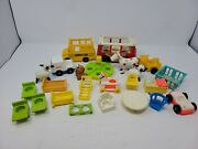Lot Of Vintage Fisher Price Little People Accessories/vehicles Bus/crib/horse