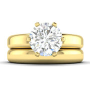 1ct F-si1 Diamond Round Engagement Ring 14k Yellow Gold Any Size