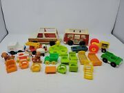 Lot Of Vintage Fisher Price Little People Accessories/vehicles Bus/horse/chairs