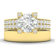 1.45ct H-si1 Diamond Pave Engagement Ring 14k Yellow Gold Any Size