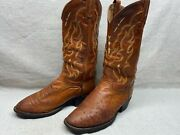 Tony Lama Menand039s 9 Brown Brandy Tan Smooth Ostrich Round Toe Western Boots