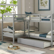 Twin Over Twin Bunk Bed L-shaped Solid Wood Bed Frame Twin Bunk Beds With Ladder