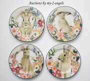New In Box Pottery Barn Floral Bunny Salad Plates Set Of 4 Easter Spring Rabbit