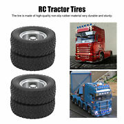 Front/rear 1/14 Rc Tractor Tires Rubber Low Loader Wheels With Cnc Rims Fortamiy