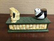 Bits And Pieces Panda Bear Collectible Cast Iron Mechanical Coin Bank Reproduction