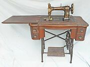 Antique Sewing Machine White Treadle Bent Oak Cabinet Gilded Decorated Fancy