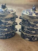 2 Rare Chinese Dragon Blue Willow 3 Stacking Tiffin Lunch Box Covered Dish