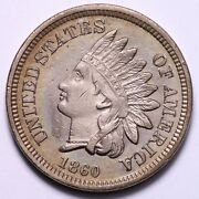 1860 Rounded Bust Indian Head Cent Penny Choice Au+ Unc Free Shipping E678 Jccm
