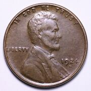 1924-d Lincoln Wheat Cent Penny Choice Au++ Unc Free Shipping E770 Gccx