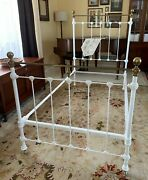 Antique White Iron And Brass Twin Bed